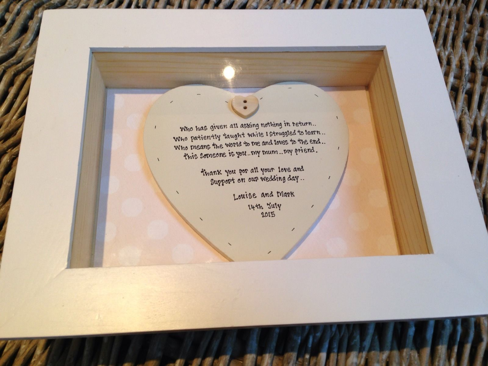 Shabby Personalised Chic Box Frame Gift For Mother Of The groom. Mum ...
